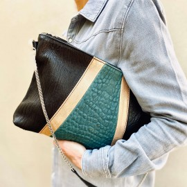 POCHETTE ZOEY BLACK, GOLD, TURQUOISE