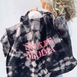 SHOPPERBAG BLACK BLEACHED/PINK