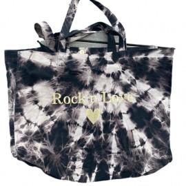 SHOPPERBAG XXL BLACK BLEACHED, ROCK'N LOVE GOLD