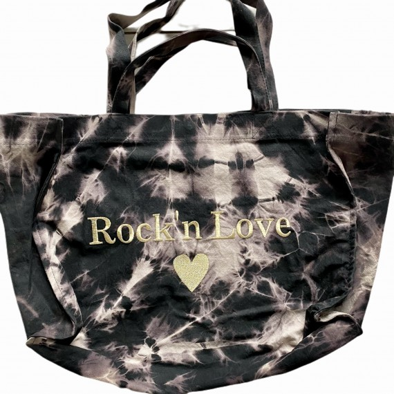 SHOPPERBAG L TIE&DYE BLACK, ROCK'N LOVE GOLD
