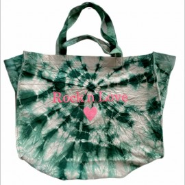 SHOPPERBAG XXL TIE&DYE MENTHE, ROCK'N LOVE ROSE FLUO