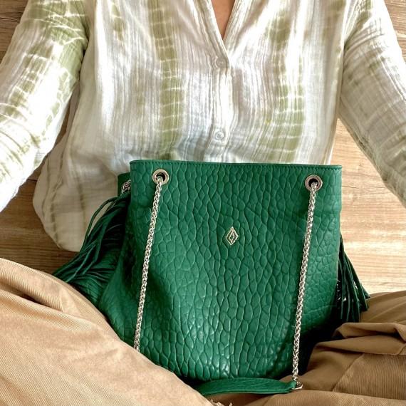 DUNE XL BUBBLE GREEN, CHAINE ARGENTEE