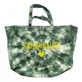 SHOPPERBAG XXL TIE&DYE KAKI, SURF BEACH& LOVE JAUNE