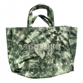 SHOPPERBAG XXL TIE&DYE KAKI, SURF BEACH& LOVE SILVER