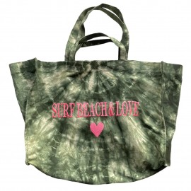 SHOPPERBAG XXL TIE&DYE KAKI, SURF BEACH& LOVE PINK