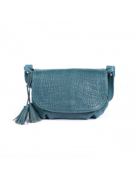 Besace Bag cuir bubble turquoise