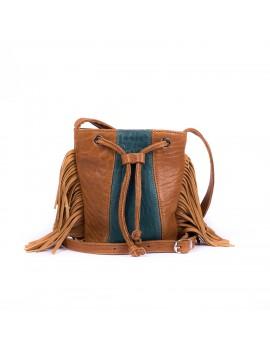 Mini JOY camel et turquoise, anse en cuir
